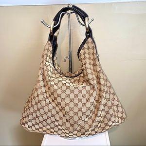 Gucci Large Horsebit Monogram Hobo Handbag